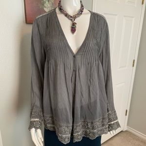Johnny Was Embroidered Top Blouse - Long Sleeve
